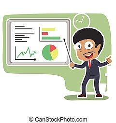 biznesmen, afrykanin, udzielanie, prezentacja