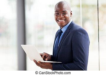 biznesmen, amerykanka, laptop, afrykanin