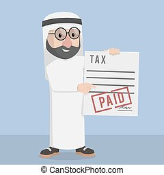 biznesmen, arabski, opodatkować, płatny