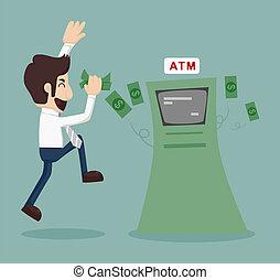 biznesmen, atm, cofające pieniądze