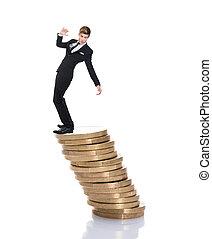 biznesmen, balansowy, na, sztaplowany, monety