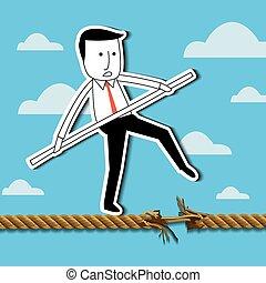 biznesmen, balansowy, rope.