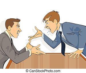 biznesmen, biuro, spór