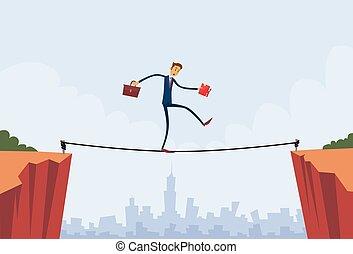 biznesmen, chód, na, urwisko, otwór, góra, handlowiec, balansowy