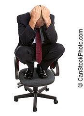 biznesmen, chair., skulony
