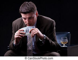 biznesmen, cieszący się, dużo, od, pieniądze