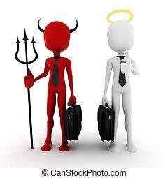 biznesmen, człowiek, demon, anioł, 3d