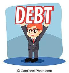 biznesmen, dług, podnoszenie, łatwo