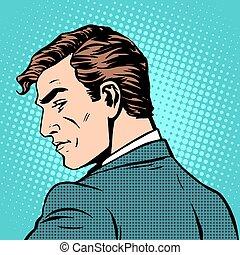 biznesmen, dżentelmen, spojrzenia, wstecz