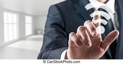 biznesmen, dotyka, radiowy, wifi, icon., 3d, przedstawienie