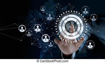 biznesmen, dotykanie, faktyczny, ekran, niejaki, globalny, klient, sieć, połączenie