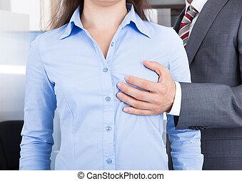 biznesmen, dotykanie, kobieta interesu