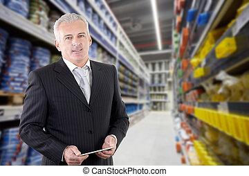 biznesmen, dyrektor, dorosły, supermarket, uśmiechanie się