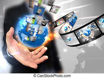 biznesmen, dzierżawa, handlowy, świat