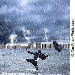 biznesmen, dzierżawa parasol, z, thundershower