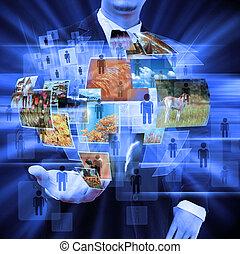 biznesmen, dzierżawa, towarzyski, sieć