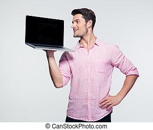 biznesmen, ekran, laptop, pokaz, czysty