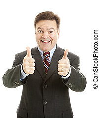 biznesmen, entuzjastyczny, kciuki do góry, dwa