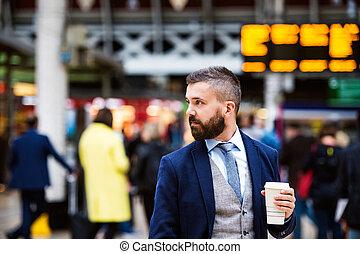biznesmen, filiżanka do kawy
