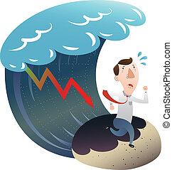 biznesmen, finansowy, kryzys