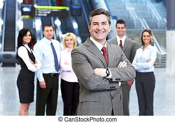 biznesmen, group., handlowy zaludniają