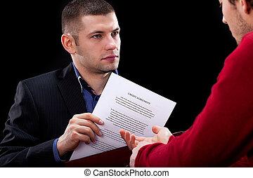 biznesmen, hidding, niesprawiedliwy, kontrakt