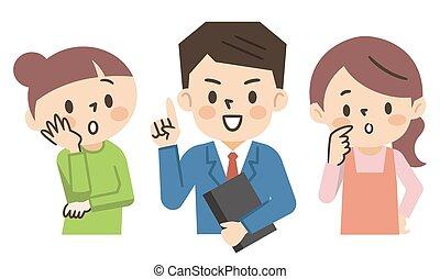 biznesmen, ilustracja, problem, gospodyni, wątpliwości, sumowanie, rozwiązywanie