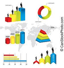 biznesmen, infographic, sylwetka, zbiór, barwny