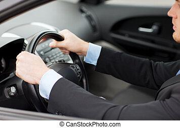 biznesmen, jazda wóz