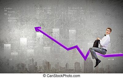 biznesmen, jazda, wykres
