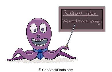 biznesmen, jego, ośmiornica, plan, handlowy