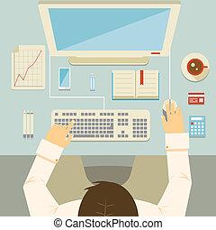 biznesmen, jego, pracujący, biurko