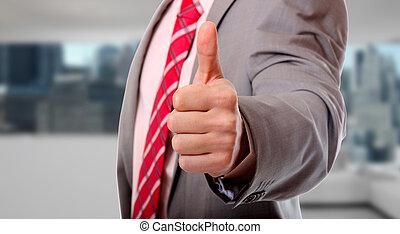biznesmen, kciuki do góry
