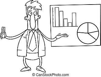 biznesmen, kolorowanie, prezentacja, strona