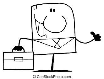 biznesmen, konturowany, rysunek