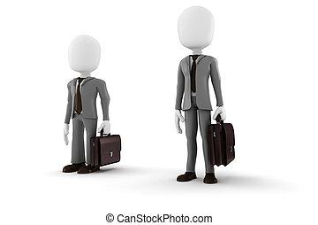 biznesmen, krótki, 3d, człowiek, wysoki