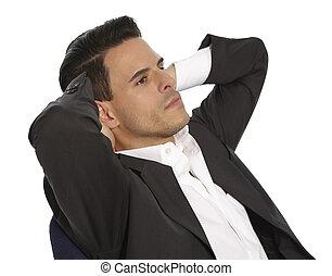 biznesmen, krzesło, odprężając, posiedzenie