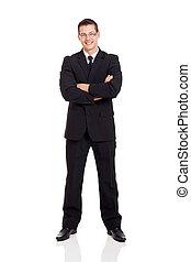 biznesmen, krzyżowany herb, garnitur