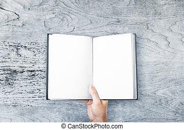 biznesmen, książka, dzierżawa, czysty