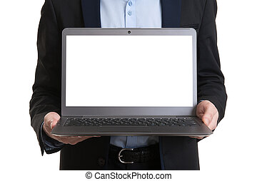 biznesmen, laptop, pokaz, ekran, czysty