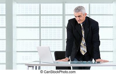 biznesmen, laptop, pracujący