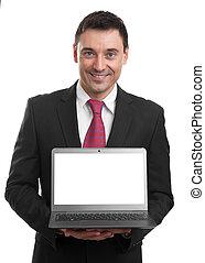biznesmen, laptop, przedstawiając, coś