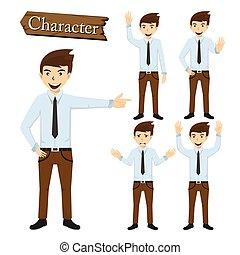 biznesmen, litera, komplet, wektor, ilustracja