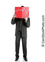 biznesmen, młody, odmowa, wykres, pełna długość