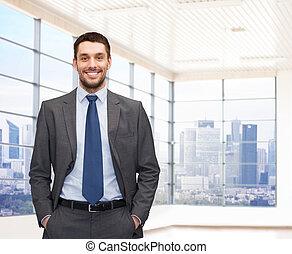 biznesmen, młody, szczęśliwy