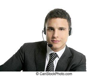 biznesmen, młody, z, słuchawki, portret