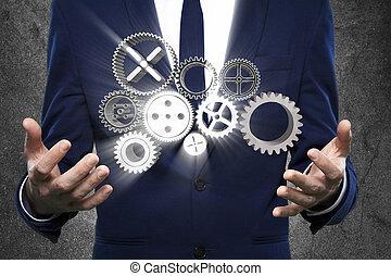 biznesmen, mechanizmy, pracujący, ręka, powodzenie, pojęcie