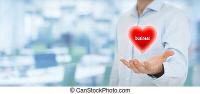 biznesmen, miłość, handlowy