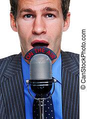 biznesmen, mikrofon, powietrze