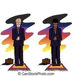 biznesmen, modlący się, zachód słońca, muslim, po